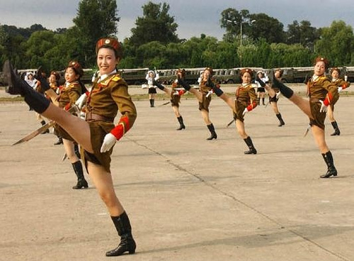 north korean army parade. North Korean Women practice