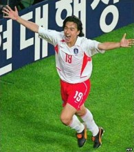 Ahn Jung-hwan celebrates the humiliation of Italy