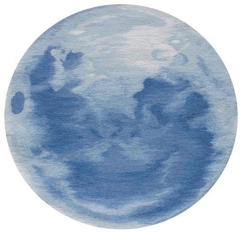 Soon Yul Kang: Blue Moon (2011). Hand Woven tapestry, diameter 67.5cm