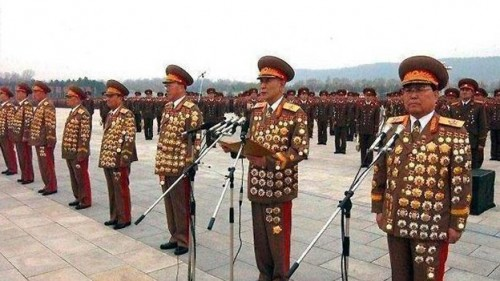 North Korean generals in full regalia