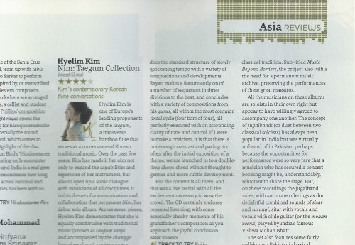 Post image for Hyelim Kim reviewed in Songlines magazine